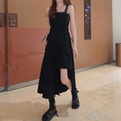 長裙大碼減齡顯瘦洋裝夏遮肉洋氣收腰不規則設計感黑色吊帶長裙