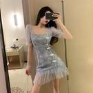旗袍洋裝 閃閃亮片旗袍魚尾裙子2021年夏季新款收腰顯瘦氣質白色連身裙女士