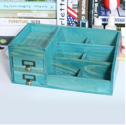 全實木大號桌面木質化妝品收納盒遙控器多功能【新品2抽屜高度盒(藍色)】
