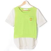 【Dailo】假兩件式口袋拼布上衣-綠 10601
