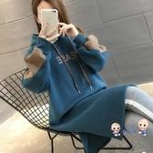 孕婦洋裝 連身裙秋冬款潮媽秋裝時尚款冬裝寬鬆刷毛加厚上衣連帽T恤裙女 M-2XL