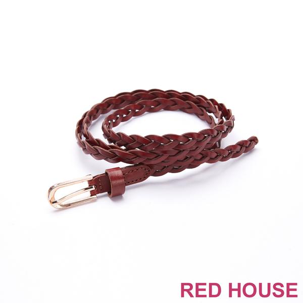 Red House 蕾赫斯-U型金釦編織皮帶(共4色)