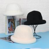 毛帽 百搭卷邊小圓帽韓版潮秋冬季丸子帽小禮帽女純色兔毛針織兔毛帽子