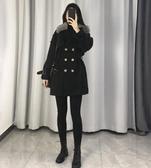 風衣女2019冬裝新款韓版時尚加棉大毛領中長款百搭流行英倫風外套 夢藝家