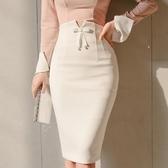 窄裙 短裙2017秋冬新款女裝修身高腰優雅蝴蝶結氣質ol職業包臀半身裙一步裙