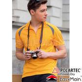 EasyMain 衣力美 SE17005-36橘黃 男抗UV排汗Polo衫 Polartec透氣休閒服/機能快乾衫/戶外中層衣