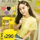LULUS特價-L韓製-拷克捲邊坑條短袖上衣-5色  現+預【01018124】