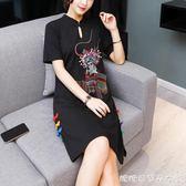 改良旗袍女夏季中國風新款少女黑復古民族風女裝洋裝 糖糖日系森女屋