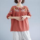 棉麻 復古圓領刺繡上衣-大尺碼 獨具衣格