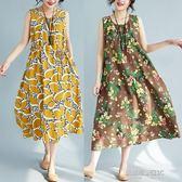 夏裝新款復古寬鬆背心裙民族風大碼亞棉麻吊帶打底碎花無袖連身裙  凱斯盾數位3C