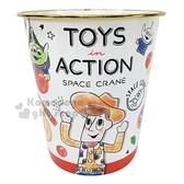 〔小禮堂〕迪士尼 玩具總動員 圓形無蓋垃圾桶《白紅.比薩》書報桶.收納桶.置物桶4935124-51298