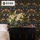 美式壁紙復古鄉村中式田園花鳥藏式牆紙 客廳臥室電視背景牆酒店 夢幻小鎮