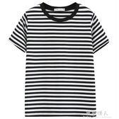夏裝新款韓版條紋打底衫上衣半袖情侶寬鬆百搭學生短袖t恤女 完美情人精品館
