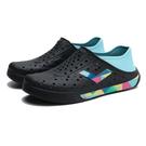 PONY 水鞋 黑水藍 彩色 幾何LOGO 後跟可踩 洞洞鞋 水陸兩用 情侶 男女 (布魯克林) 02U1SA02BK