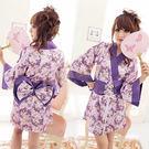 經典紫花日式和服兩件組 -彩虹情趣用品【490免運,滿千87折】