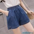 松緊牛仔短褲女夏裝小個子寬鬆闊腿褲胖妹女學生牛仔褲子加肥大碼 快速出貨