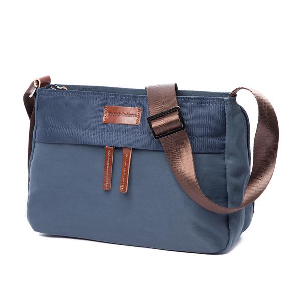金安德森 Natural Trend 原革皮標中型多格層方形側背包 藍色