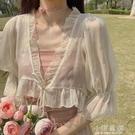 超仙雪紡小披肩女夏季薄款開衫外搭白色短款小外披配吊帶裙子罩衫『小淇嚴選』