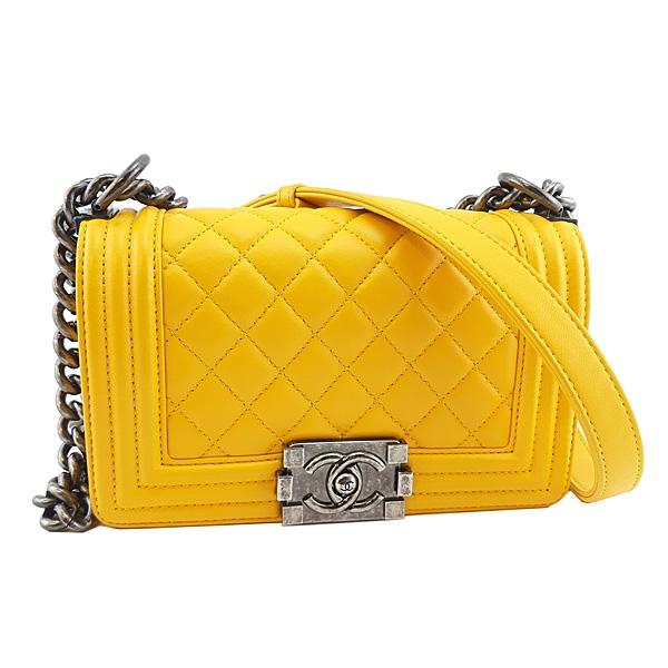 【奢華時尚】CHANEL 黃色菱格紋羊皮霧銀鍊肩背斜背20公分BOY包(八八成新)#24587