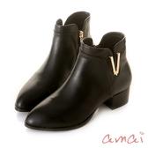 amai《Vivi薇薇》V口金屬裝飾尖頭短靴 黑