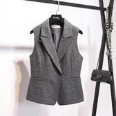 外套/背心  明星同款灰色馬甲職業OL西裝短款馬甲女春秋外套