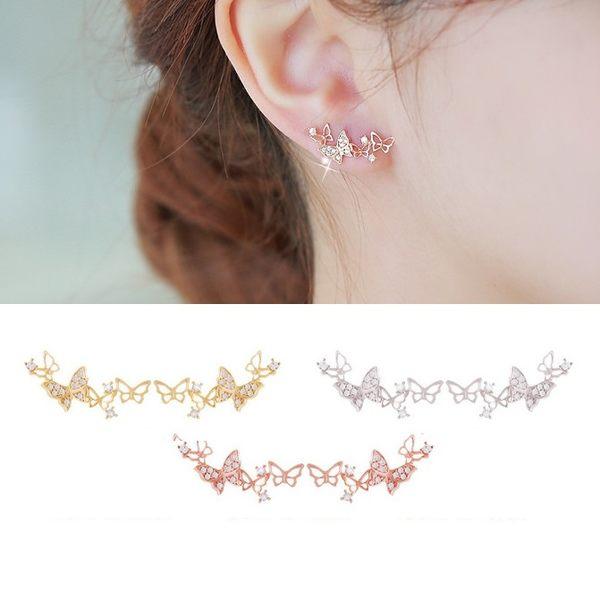 耳環 絕美舞蝶頂級鋯石滿鑽 925銀針 耳環