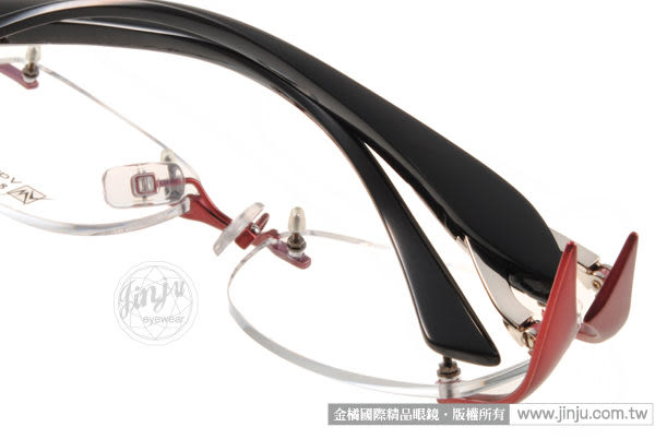 【金橘眼鏡】Vanessa Mehdi眼鏡 強悍視覺#VM1003 C0003 紅-黑色 無框 -全球專利可調式鏡臂 (免運)