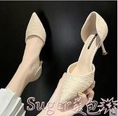 貓跟鞋網紅單鞋女韓版年春款法式少女高跟鞋細跟百搭貓跟尖頭工作鞋 suger