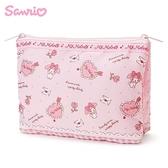 日本限定 三麗鷗 美樂蒂  粉紅甜心 雙拉鍊 收納扁袋 / 收納包 / 化妝包/鉛筆盒