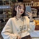 翻領長袖女 翻領長袖t恤 新款初中高中學生韓版寬松可愛polo衫上衣 圖拉斯