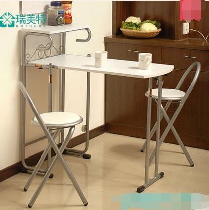 免組裝長方形折疊餐桌椅  主圖款【一桌兩椅子白色】