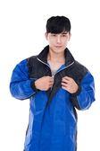 [東門城] M2R M2 雨衣 黑藍 二件式 魔鬼沾設計 背部反光條設計