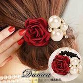 髮束 現貨 韓國連線甜美浪漫手作小香風玫瑰花珍珠髮束(3色) S7357 批發價 Danica 韓系飾品