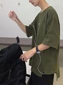 男士亞麻短袖T恤潮牌潮流棉麻五分袖衣服七分cec超火寬鬆簡約百搭