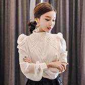 韓風長袖襯衫 氣質優雅立領燈籠袖襯衫 艾爾莎【TAK7372】
