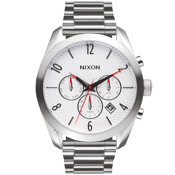 NIXON BULLET CHRONO先鋒計時網紋腕錶-白X銀