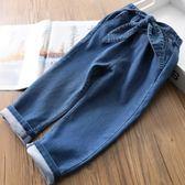 女童牛仔褲春夏 柔軟棉寶寶牛仔褲蝴蝶結兒