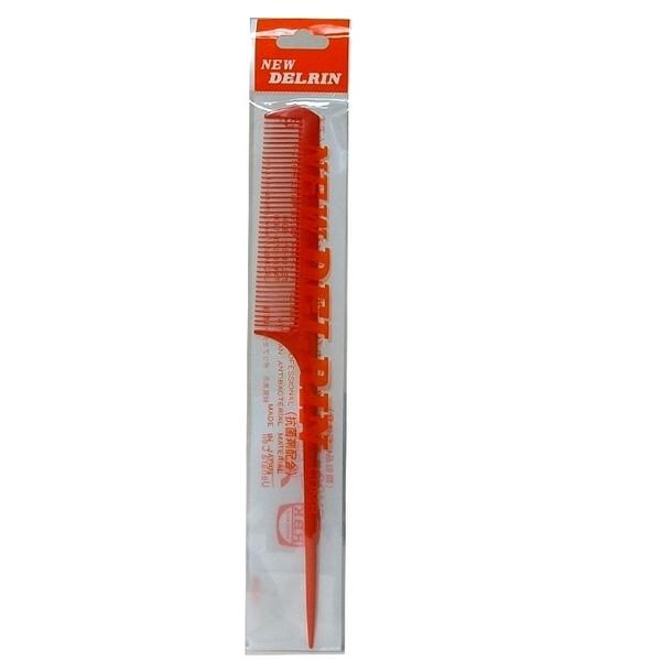 日本 DELRIN # 3 專業美髮尖尾梳 先細 橘色 耐熱性 耐藥品性 耐久性