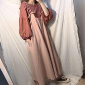 原宿夏季女裝時尚套裝燈籠袖上衣 吊帶寬褲兩件套