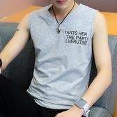 背心男夏季運動跑步健身V領無袖T恤個性潮牌坎肩上衣服寬肩汗衫棉 極客玩家