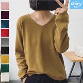 【V2994】shiny藍格子-親膚柔軟.純色V領長袖針織上衣