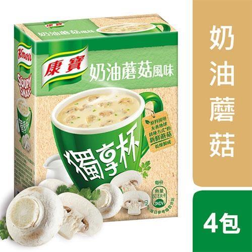 康寶奶油風味獨享杯蘑菇13G x4【愛買】