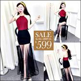 克妹Ke-Mei【ZT46808】歐洲站 性感金屬吊頸雪紡背心+膨紗魚尾長裙套裝