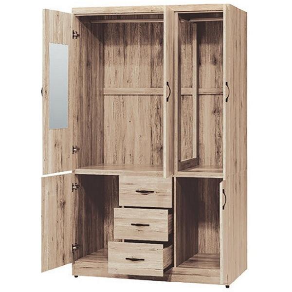 衣櫃 衣櫥 PK-550-1 派蒙淺橡木4X7尺三抽二門衣櫥【大眾家居舘】