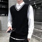 秋季棉質男式毛衣背心韓版修身大碼無袖針織衫馬夾學院風潮流時尚馬甲坎肩LXY4357【Rose中大尺碼