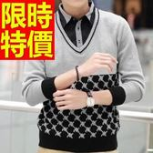 長袖毛衣優雅品味-造型質感假兩件式男襯衫 2色59ac17【巴黎精品】
