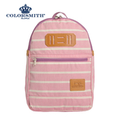 【COLORSMITH】PU・基本款後背包-粉紅橫條紋・PU1362-PN