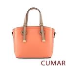 CUMAR 經典素色多夾層手提斜背包-橘...