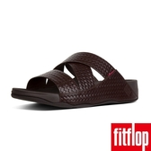 【FitFlop】CHI SLIDES IN WOVEN EMBOSSED LEATHER(巧克力棕)