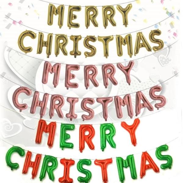 [拉拉百貨]16吋聖誕快樂英文字母氣球 佈置 聖誕節 歡樂驚喜 DIY樂趣